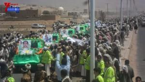 الالاف يشيعون 6 من شهداء مجزرة الضبر بعمران التي ارتكبتها قوات القشيبي بحق مسيرة سلمية (22)