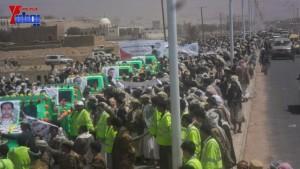 الالاف يشيعون 6 من شهداء مجزرة الضبر بعمران التي ارتكبتها قوات القشيبي بحق مسيرة سلمية (24)