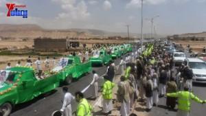 الالاف يشيعون 6 من شهداء مجزرة الضبر بعمران التي ارتكبتها قوات القشيبي بحق مسيرة سلمية (31)