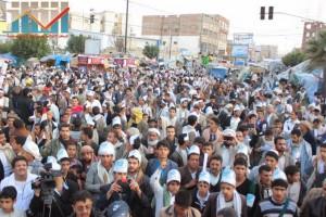 مسيرة انتهاء المهلة وبدء التصعيد الثوري التي انطلقت عصر اليوم 21فبراير من ساحة التغيير بصنعاء (123)