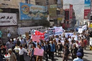 تعز تنتفض في مسيرة تضامنية منددة بمجازر الجيش في الضالع (24)