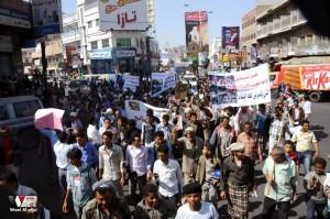 تعز تنتفض في مسيرة تضامنية منددة بمجازر الجيش في الضالع (8)