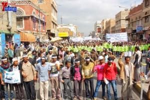 حملة 11 فبراير تخرج مسيرة حاشدة من ساحة التغيير بصنعاء تطالب باقالة و حاسبة حكومة الوفاق (122)