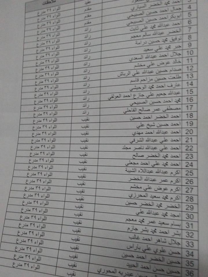 ترقيات مخالفة في اللواء 39 مدرع بعدن3